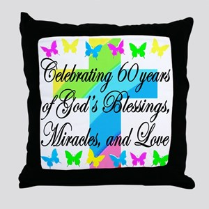 BLESSED 60TH Throw Pillow