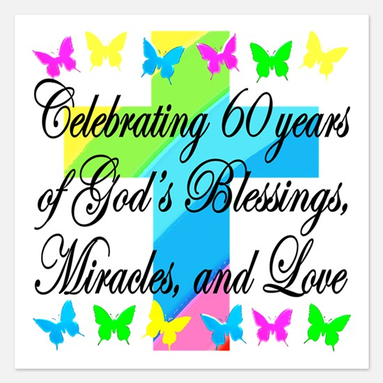BLESSED 60TH 5.25 x 5.25 Flat Cards
