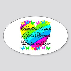 BLESSED 60TH Sticker (Oval)