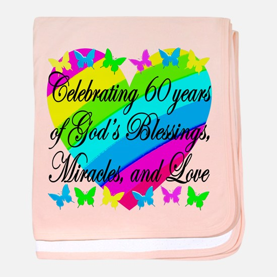 BLESSED 60TH baby blanket
