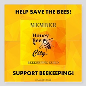 """Bee Guild Square Car Magnet 3"""" X 3"""""""