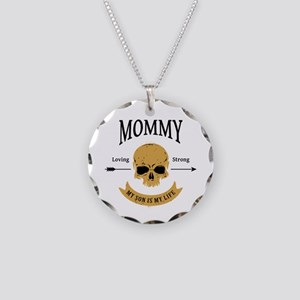 Mommy Son Skull Necklace Circle Charm