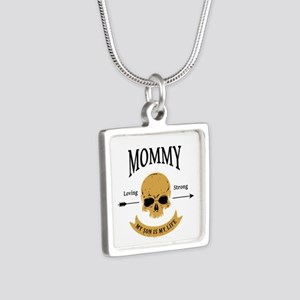 Mommy Son Skull Silver Square Necklace