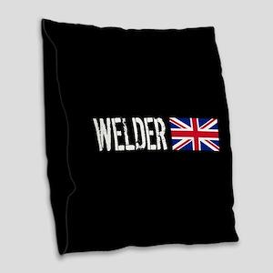 Welding: Welder (British Flag) Burlap Throw Pillow