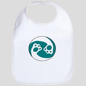 animal paws in a circle symbol - aqua Baby Bib