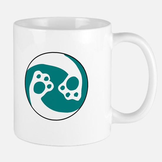 animal paws in a circle symbol - aqua Mugs