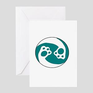 animal paws in a circle symbol - aq Greeting Cards