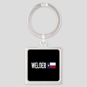 Welding: Welder (Texas Flag) Square Keychain