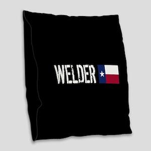 Welding: Welder (Texas Flag) Burlap Throw Pillow