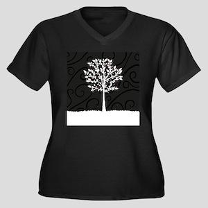 Love Tree Women's Plus Size V-Neck Dark T-Shirt