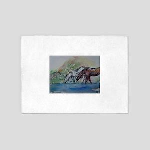 Horses! Animal art! 5'x7'Area Rug