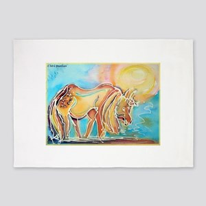 Horse! Colorful animal art! 5'x7'Area Rug