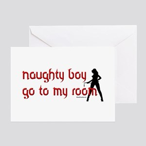 Naughty dominatrix Greeting Cards