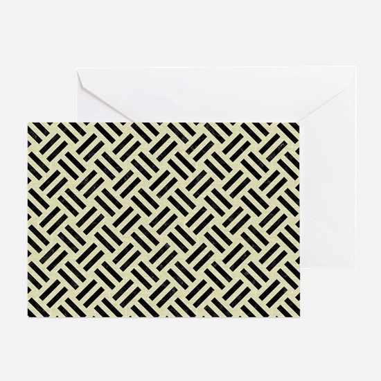 WOVEN2 BLACK MARBLE & BEIGE LINEN (R Greeting Card