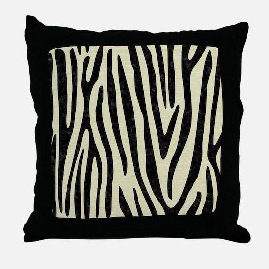 SKIN4 BLACK MARBLE & BEIGE LINEN Throw Pillow