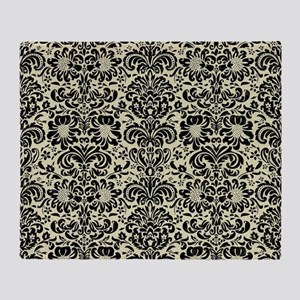 DAMASK2 BLACK MARBLE & BEIGE LINEN ( Throw Blanket