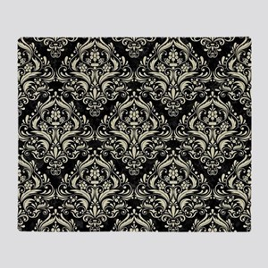 DAMASK1 BLACK MARBLE & BEIGE LINEN Throw Blanket