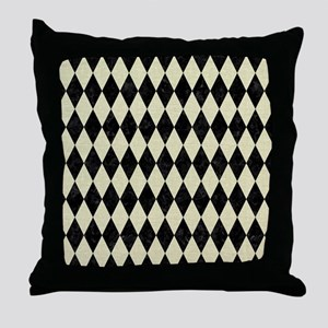 DIAMOND1 BLACK MARBLE & BEIGE LINEN Throw Pillow