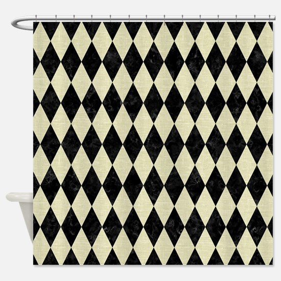 DIAMOND1 BLACK MARBLE & BEIGE LINEN Shower Curtain