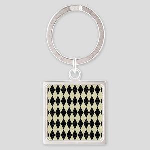 DIAMOND1 BLACK MARBLE & BEIGE LINE Square Keychain