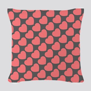 hearts pink grey Woven Throw Pillow