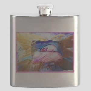 Flamingo, colorful bird art! Flask