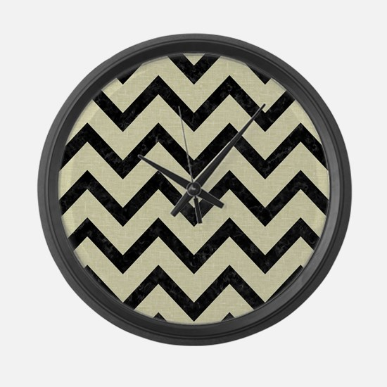 CHEVRON9 BLACK MARBLE & BEIGE LIN Large Wall Clock