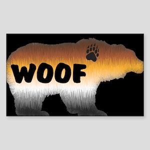 PRIDE BEAR/WOOF/BLK Rectangle Sticker