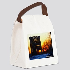 Sunset and the RR Bridge Canvas Lunch Bag