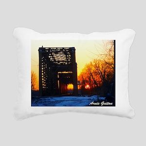 Sunset and the RR Bridge Rectangular Canvas Pillow