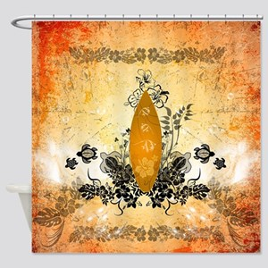 Surfboard with flowers and turtles Shower Curtain