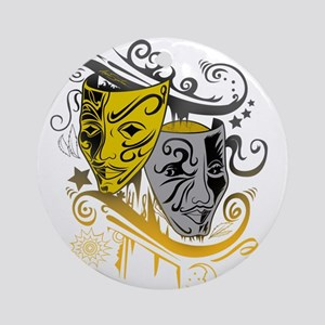 Zodiac - Gemini - Black & Gold Round Ornament