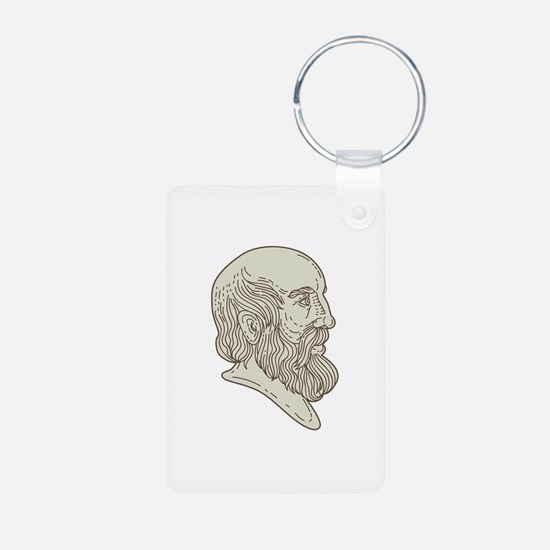Plato Greek Philosopher Head Mono Line Keychains