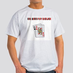 """Real Women Play Blackjack"" Ash Grey T-Shirt"
