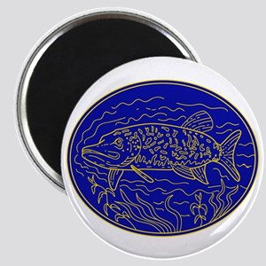 Northern Pike Fish Oval Mono Line Magnets