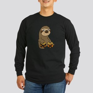 Funny Sloth Playing Bongo Drum Long Sleeve T-Shirt