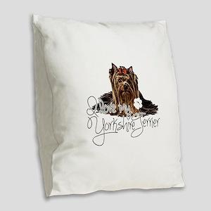 Love my Yorkie2 Burlap Throw Pillow