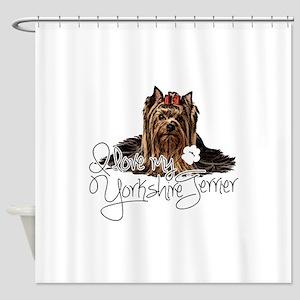 Love my Yorkie2 Shower Curtain