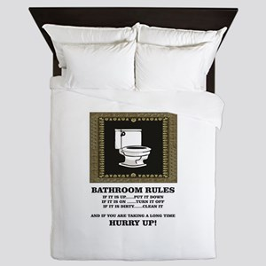 dark back bathroom rules Queen Duvet
