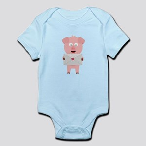 Cute Pig with Loveletter Body Suit