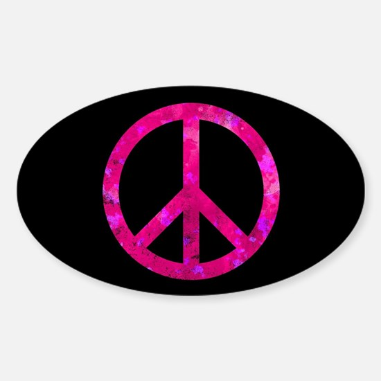 Distressed Pink Peace Sign Sticker (Oval)