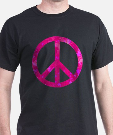 Distressed Pink Peace Sign T-Shirt