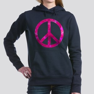 Distressed Pink Peace Si Women's Hooded Sweatshirt