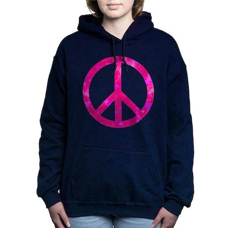 Distressed Pink Peace Si Women's Hooded Sweatshirt