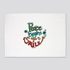 PEACE BEGINGS WITH A SMILE 5'x7'Area Rug