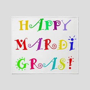 Happy Mardi Gras Throw Blanket