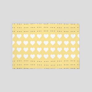 Pastel Heart Pattern 4' x 6' Rug