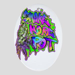 Smoke More Pot Graff Bud Oval Ornament