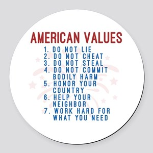 American Values Round Car Magnet