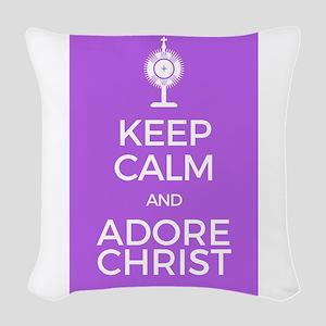 Keep Calm and Adore Christ Woven Throw Pillow